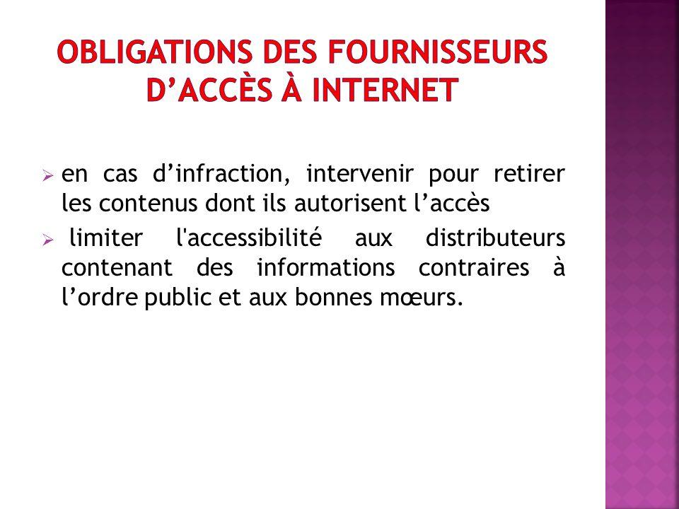 Obligations des fournisseurs d'accès à internet