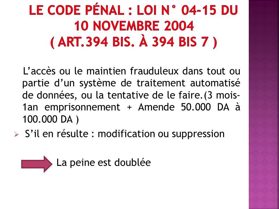 Le code pénal : loi n° 04-15 du 10 novembre 2004 ( Art. 394 bis