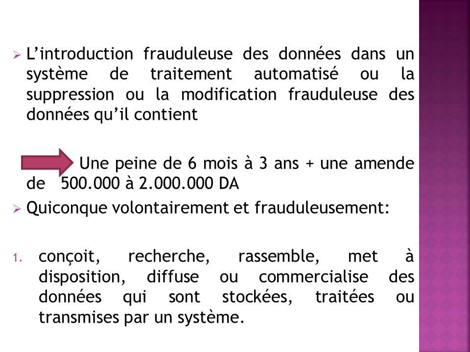 L'introduction frauduleuse des données dans un système de traitement automatisé ou la suppression ou la modification frauduleuse des données qu'il contient