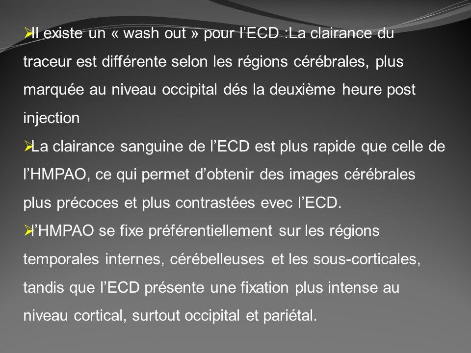 Il existe un « wash out » pour l'ECD :La clairance du traceur est différente selon les régions cérébrales, plus marquée au niveau occipital dés la deuxième heure post injection
