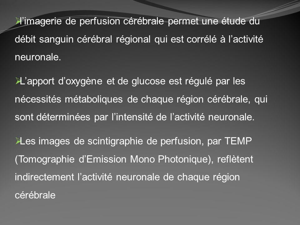 l'imagerie de perfusion cérébrale permet une étude du débit sanguin cérébral régional qui est corrélé à l'activité neuronale.
