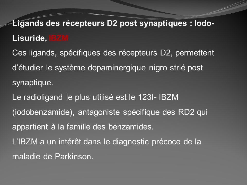 Ligands des récepteurs D2 post synaptiques : Iodo-Lisuride, IBZM