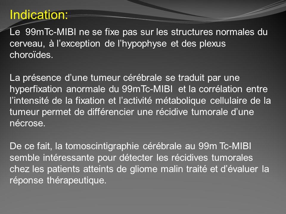 Indication: Le 99mTc-MIBI ne se fixe pas sur les structures normales du cerveau, à l'exception de l'hypophyse et des plexus choroïdes.