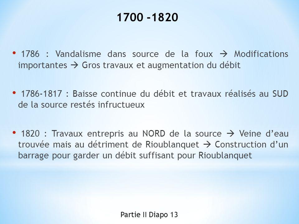 1700 -1820 1786 : Vandalisme dans source de la foux  Modifications importantes  Gros travaux et augmentation du débit.