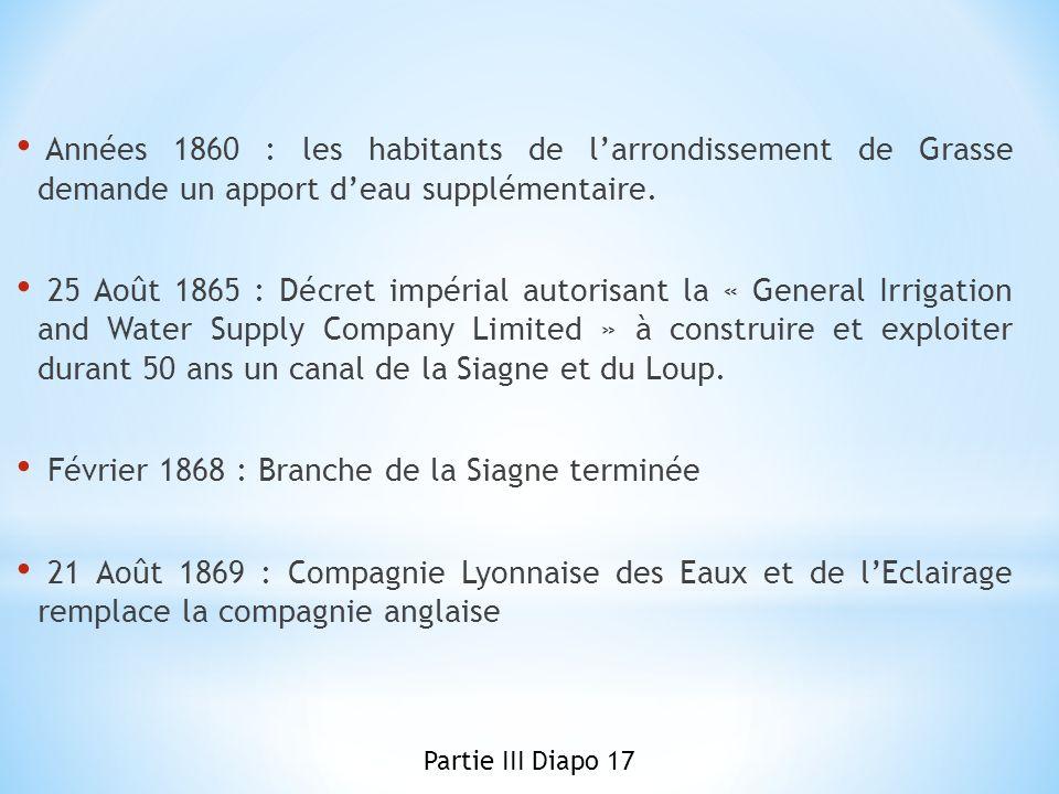 Février 1868 : Branche de la Siagne terminée