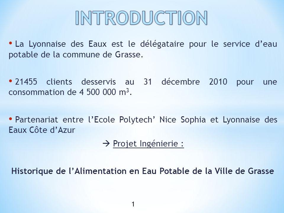 INTRODUCTION La Lyonnaise des Eaux est le délégataire pour le service d'eau potable de la commune de Grasse.