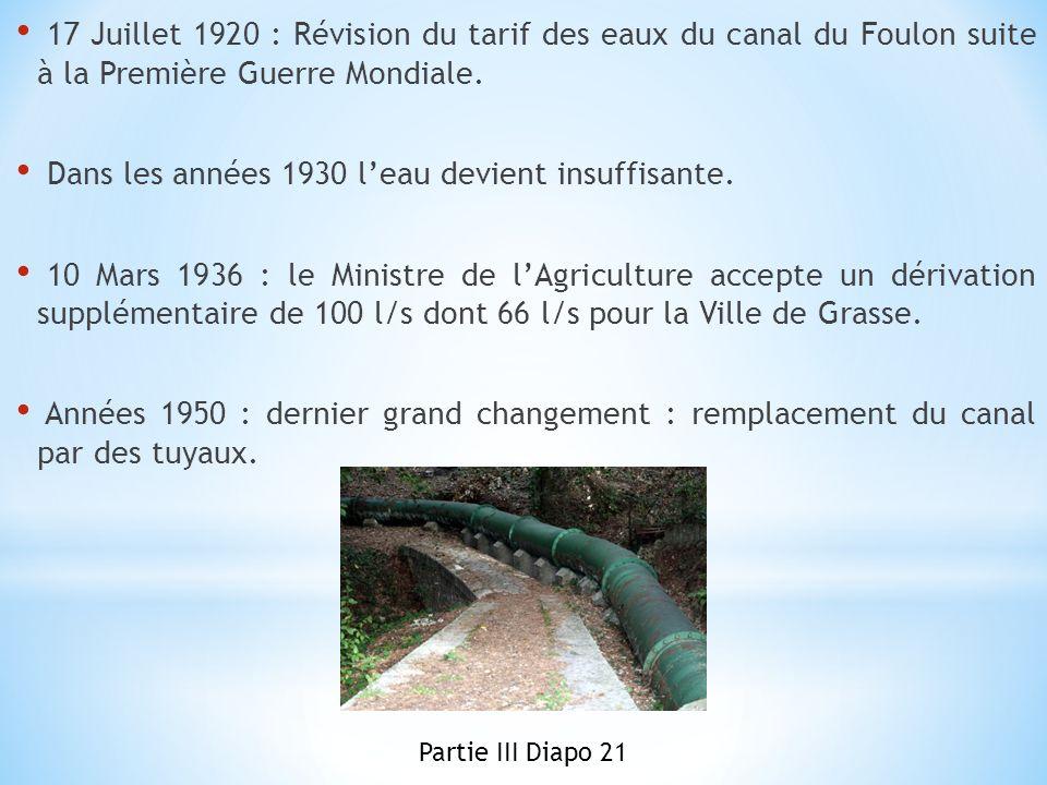 Dans les années 1930 l'eau devient insuffisante.