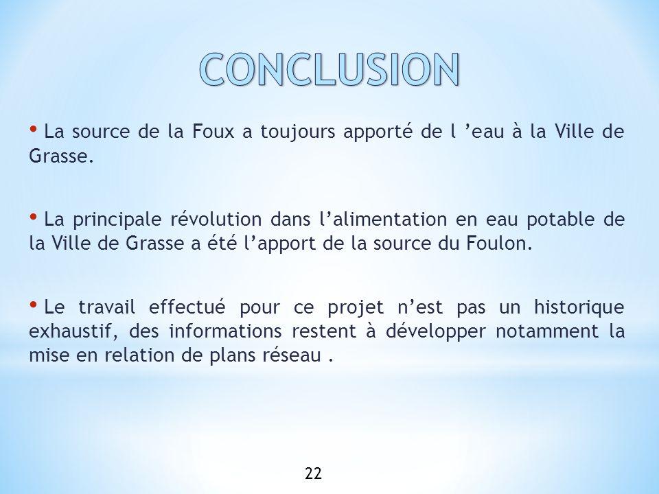 CONCLUSION La source de la Foux a toujours apporté de l 'eau à la Ville de Grasse.