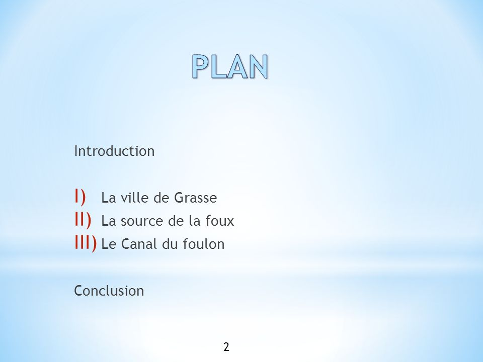 PLAN Introduction La ville de Grasse La source de la foux