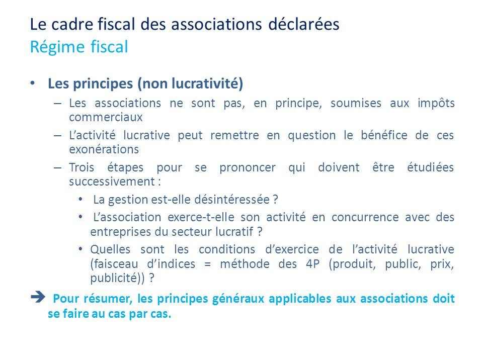 Le cadre fiscal des associations déclarées Régime fiscal