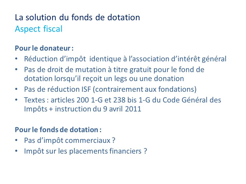 La solution du fonds de dotation Aspect fiscal