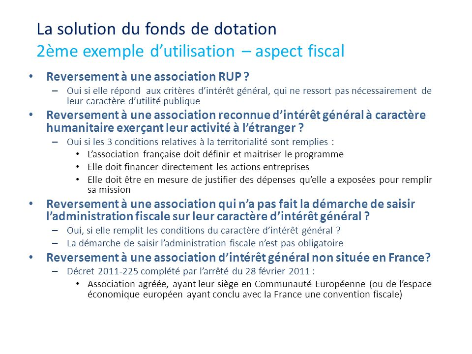 La solution du fonds de dotation 2ème exemple d'utilisation – aspect fiscal
