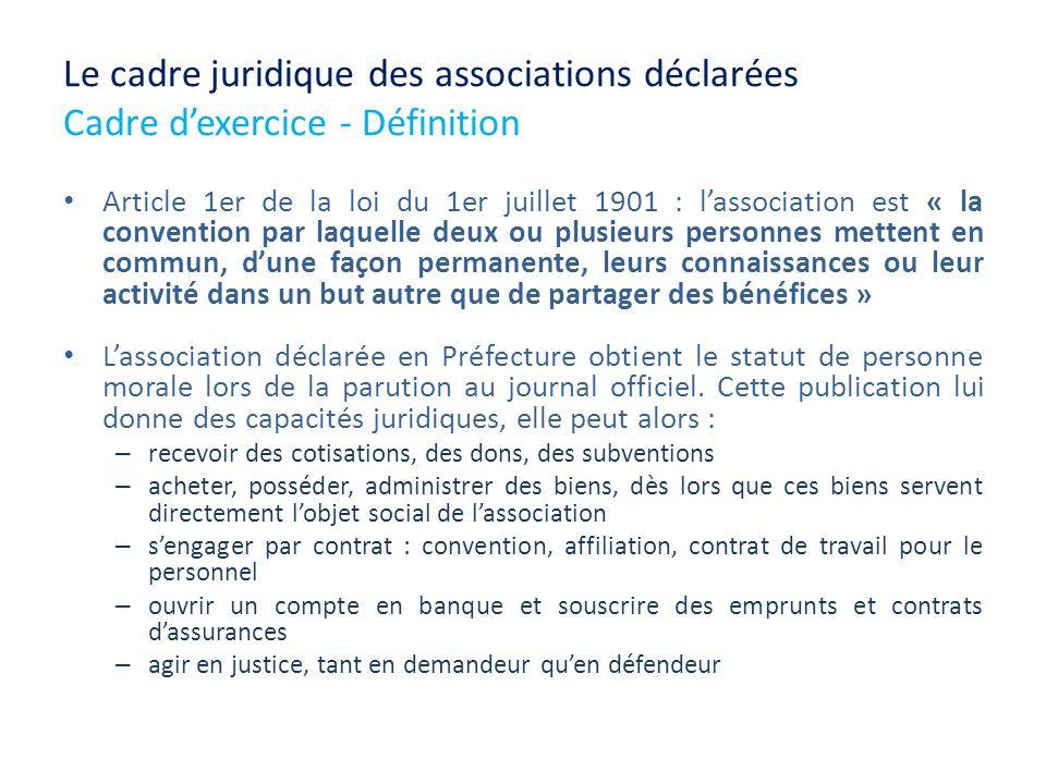 Le cadre juridique des associations déclarées Cadre d'exercice - Définition