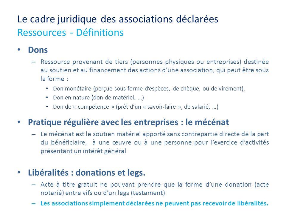 Le cadre juridique des associations déclarées Ressources - Définitions