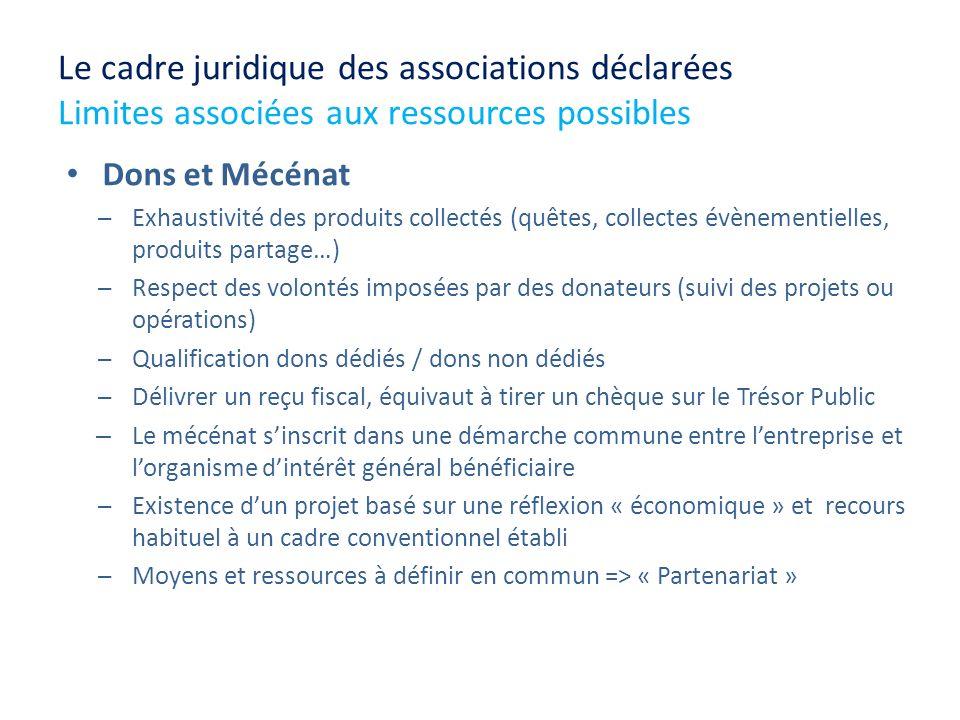 Le cadre juridique des associations déclarées Limites associées aux ressources possibles