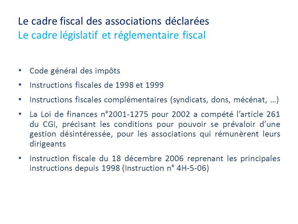 Le cadre fiscal des associations déclarées Le cadre législatif et réglementaire fiscal