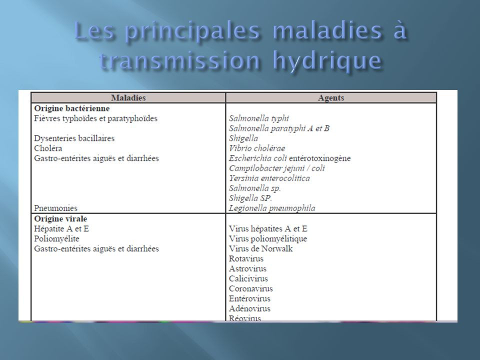 Les principales maladies à transmission hydrique