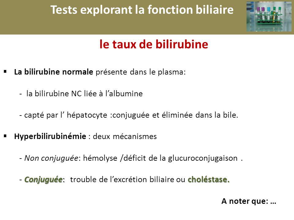 r Tests explorant la fonction biliaire le taux de bilirubine