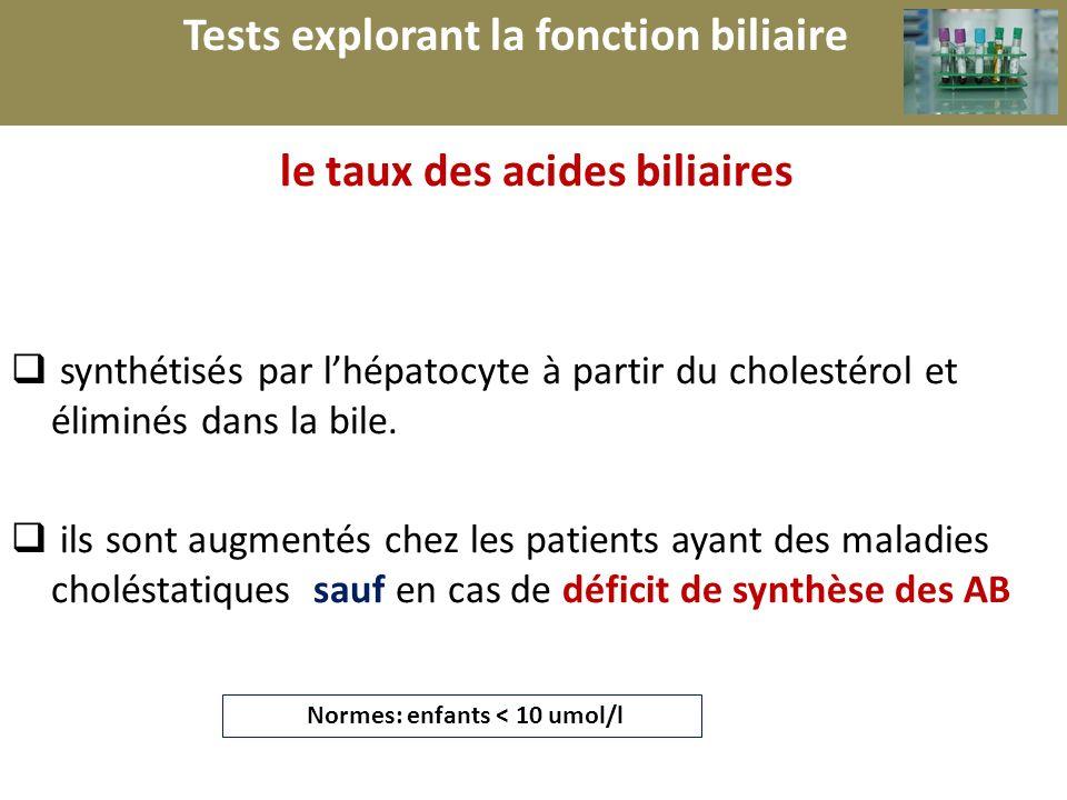 r Tests explorant la fonction biliaire le taux des acides biliaires