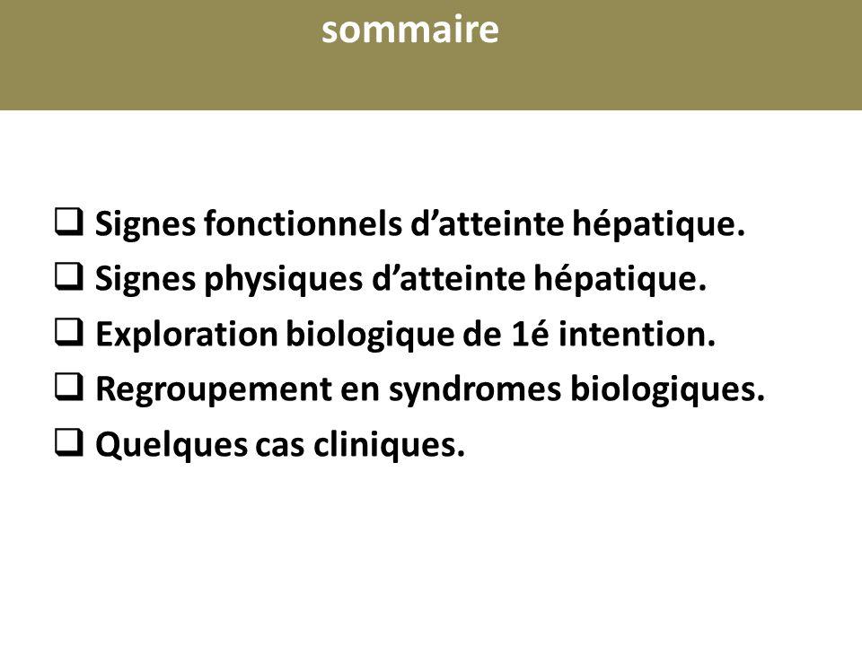 sommaire Signes fonctionnels d'atteinte hépatique. Signes physiques d'atteinte hépatique. Exploration biologique de 1é intention.