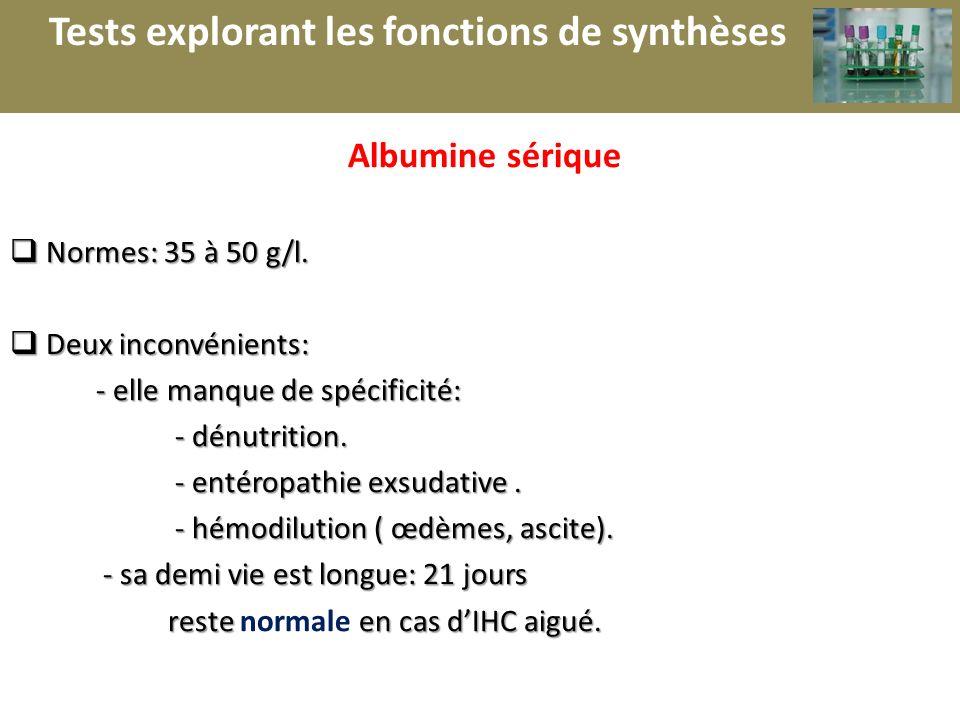 r Tests explorant les fonctions de synthèses Albumine sérique