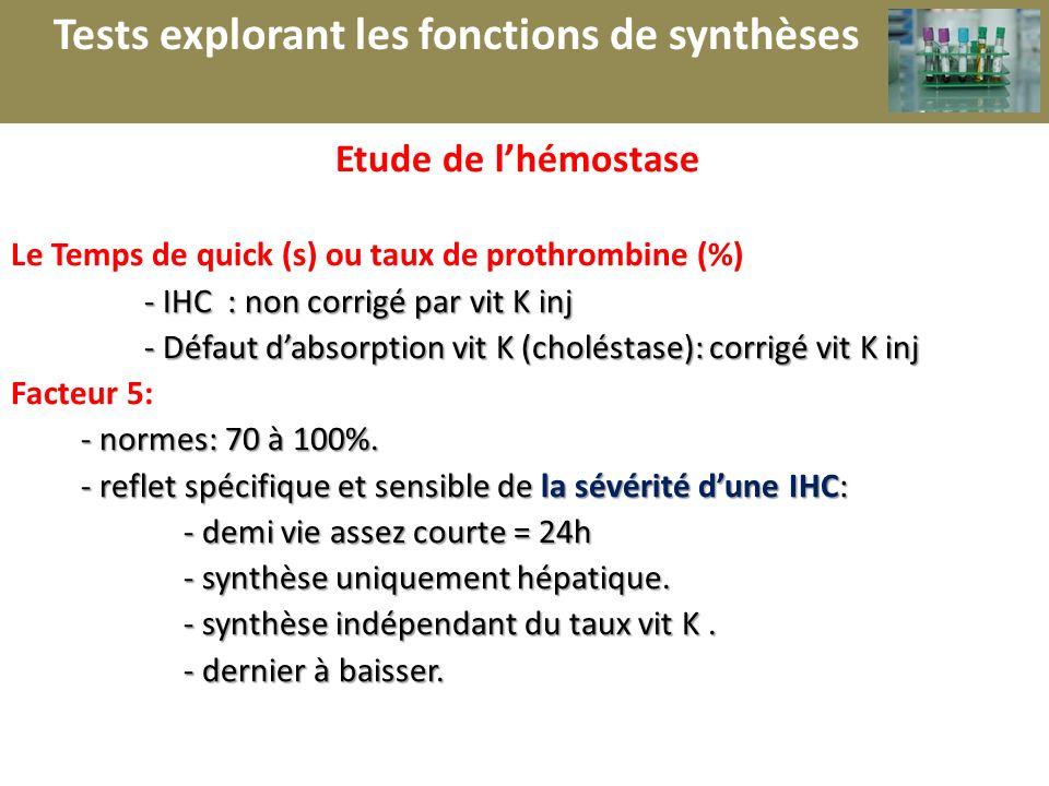 r Tests explorant les fonctions de synthèses Etude de l'hémostase