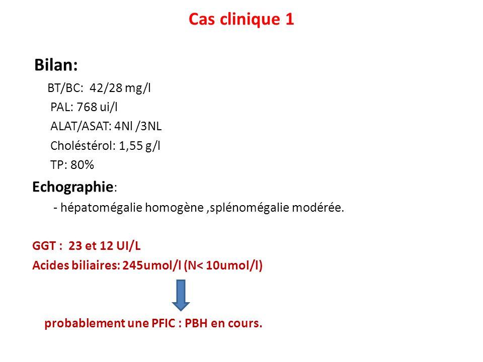 Bilan: Cas clinique 1 BT/BC: 42/28 mg/l PAL: 768 ui/l