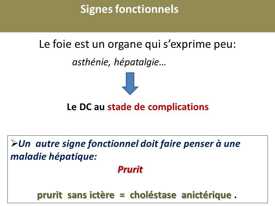 Signes fonctionnels r. Le foie est un organe qui s'exprime peu: asthénie, hépatalgie… Le DC au stade de complications.