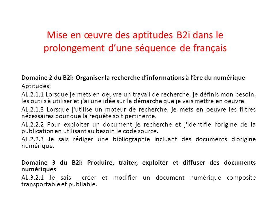 Mise en œuvre des aptitudes B2i dans le prolongement d'une séquence de français