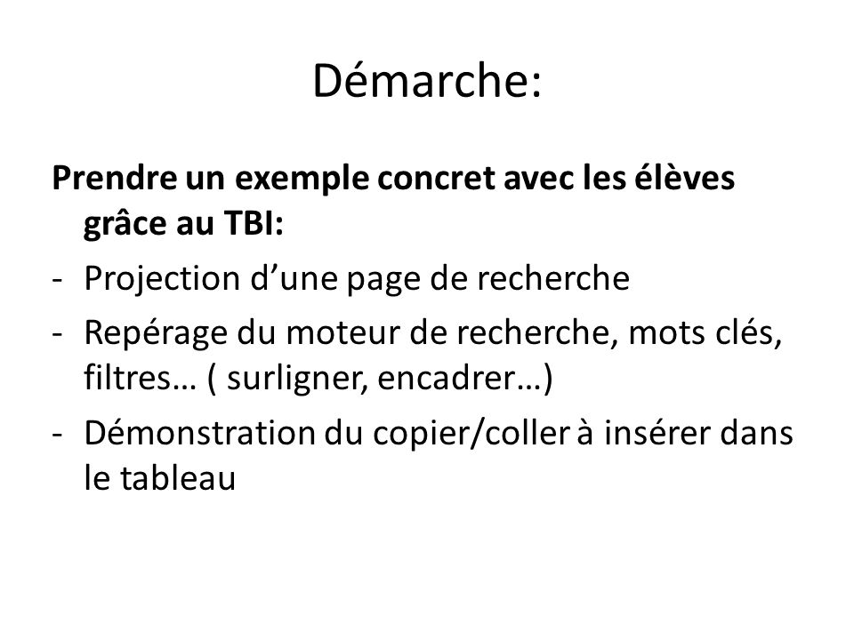 Démarche: Prendre un exemple concret avec les élèves grâce au TBI: