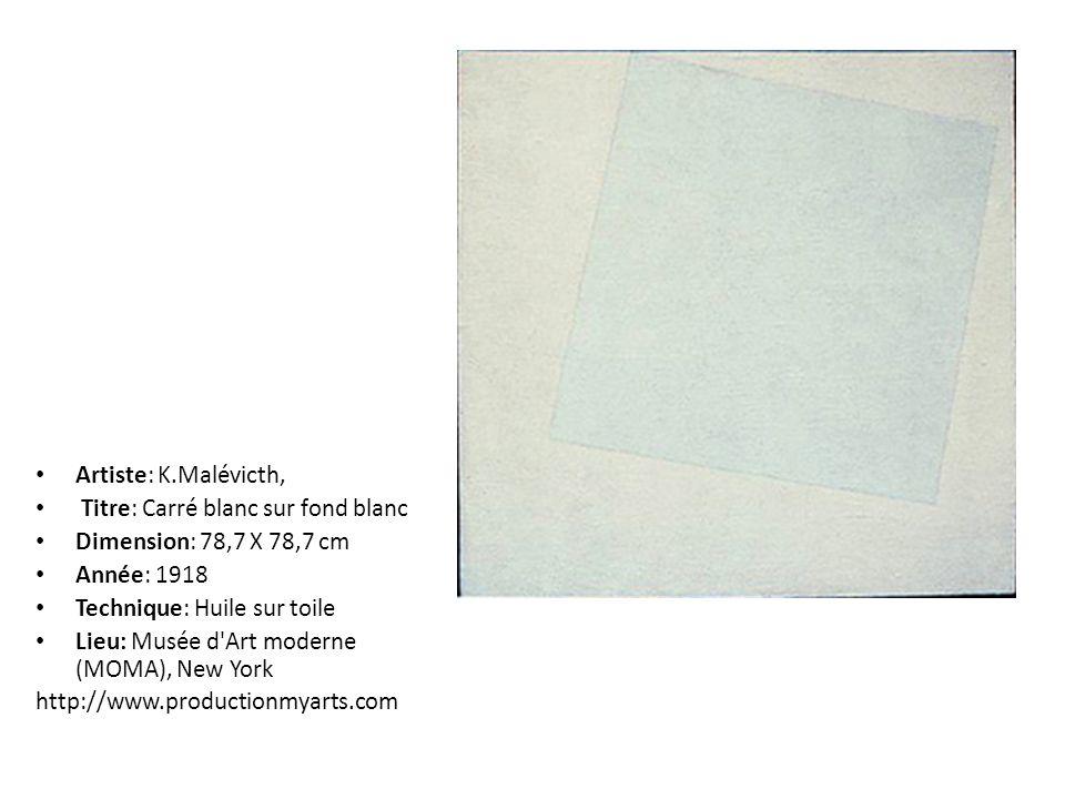 Artiste: K.Malévicth, Titre: Carré blanc sur fond blanc. Dimension: 78,7 X 78,7 cm. Année: 1918. Technique: Huile sur toile.