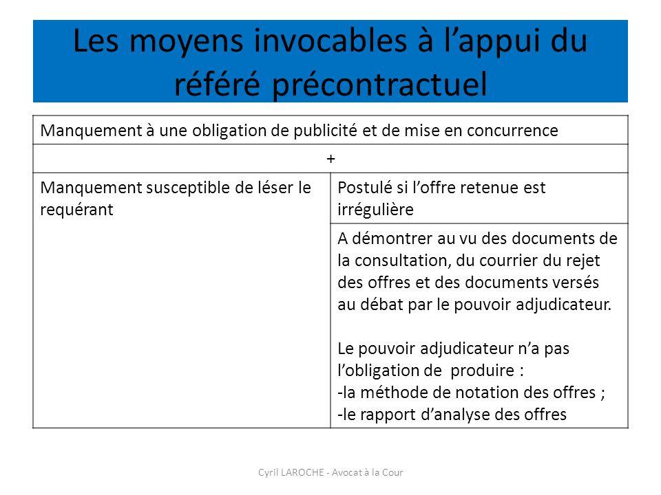 Les moyens invocables à l'appui du référé précontractuel