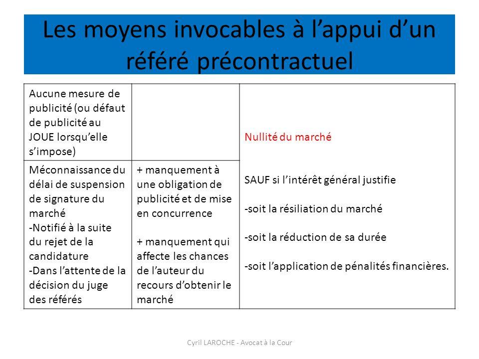 Les moyens invocables à l'appui d'un référé précontractuel