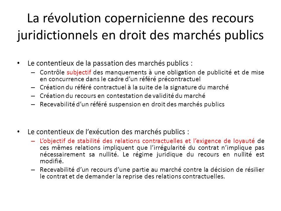 La révolution copernicienne des recours juridictionnels en droit des marchés publics