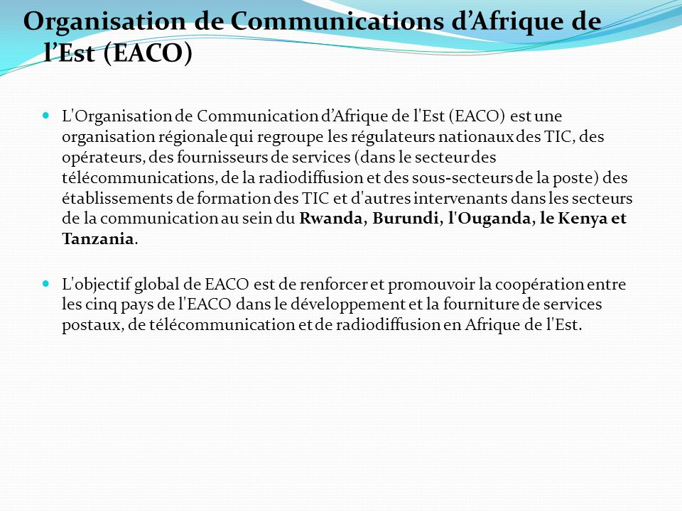 Organisation de Communications d'Afrique de l'Est (EACO)