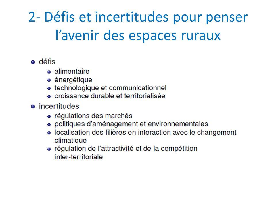 2- Défis et incertitudes pour penser l'avenir des espaces ruraux