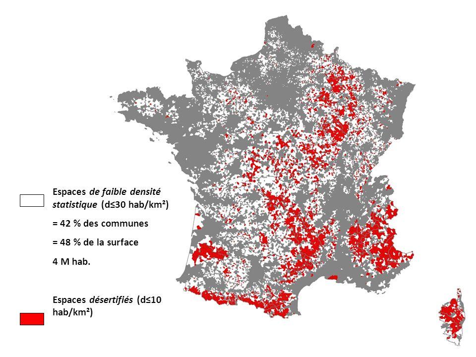 Espaces de faible densité statistique (d≤30 hab/km²)
