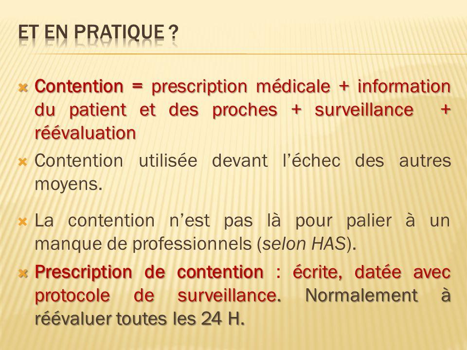 Et en pratique Contention = prescription médicale + information du patient et des proches + surveillance + réévaluation.