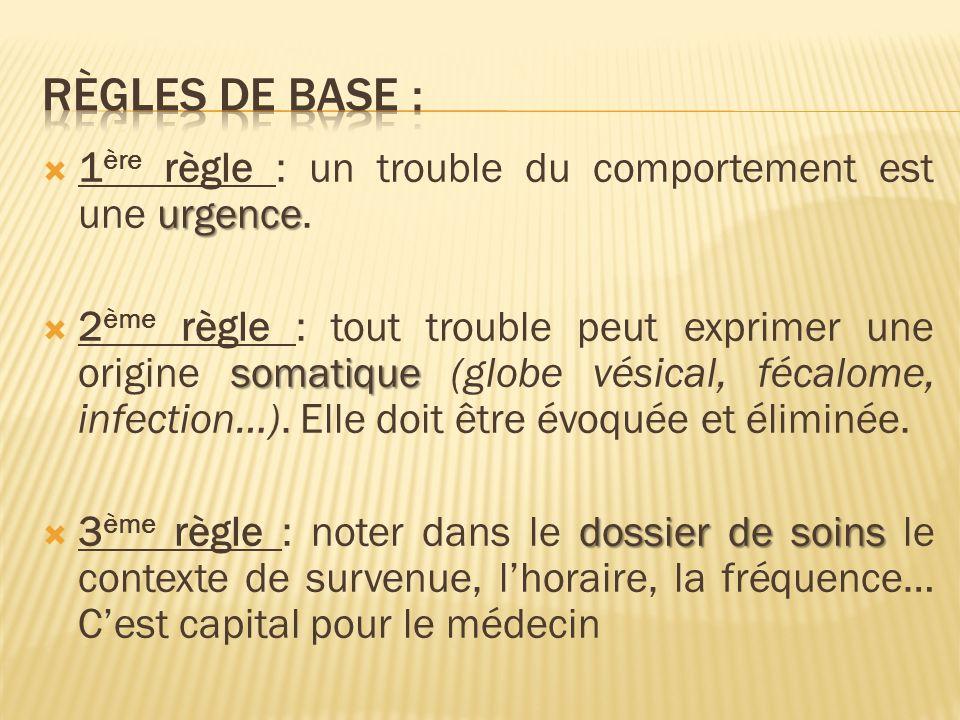 règles de base : 1ère règle : un trouble du comportement est une urgence.
