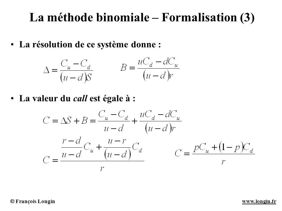 La méthode binomiale – Formalisation (3)