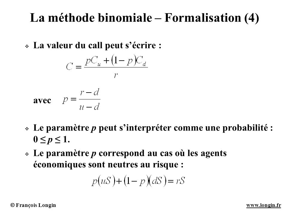 La méthode binomiale – Formalisation (4)