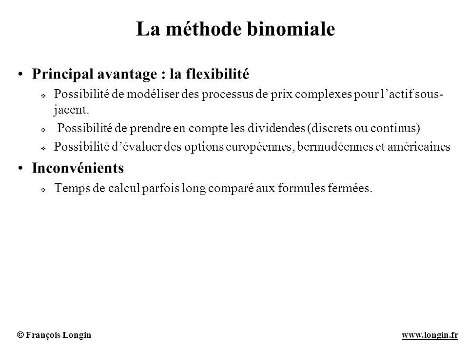 La méthode binomiale Principal avantage : la flexibilité Inconvénients