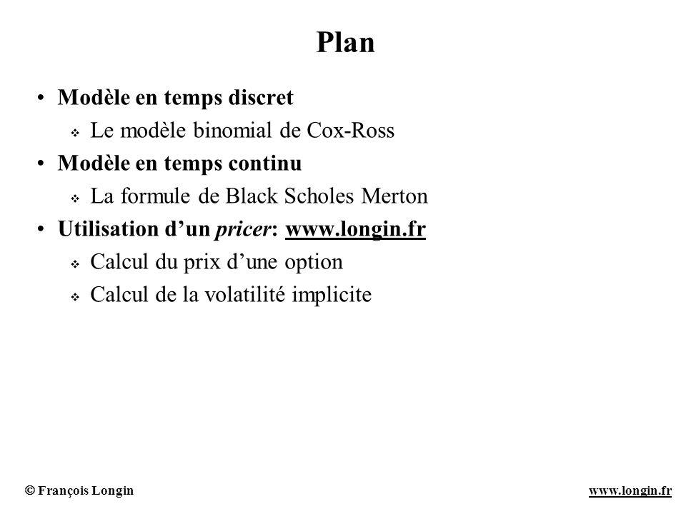 Plan Modèle en temps discret Le modèle binomial de Cox-Ross