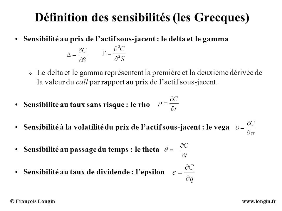 Définition des sensibilités (les Grecques)