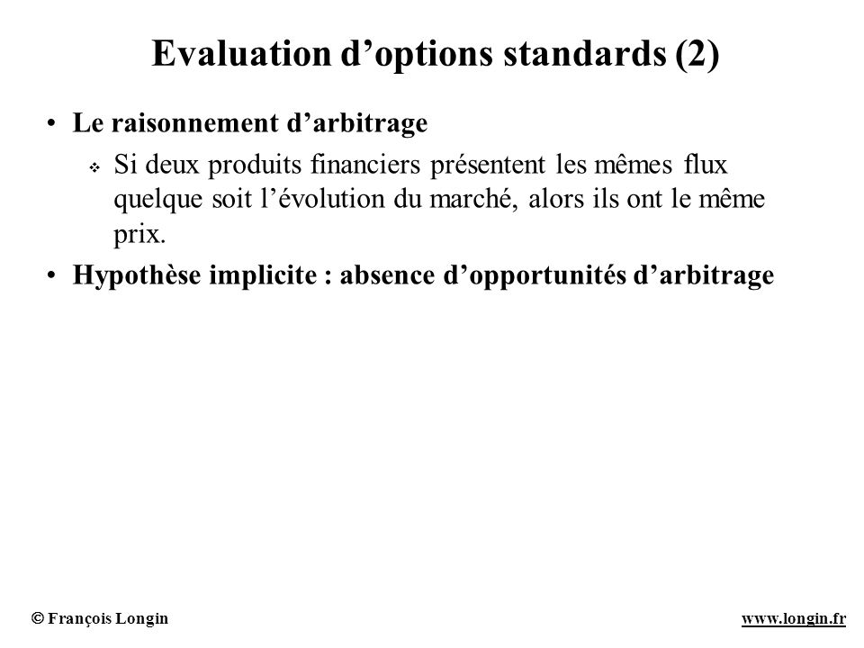 Evaluation d'options standards (2)