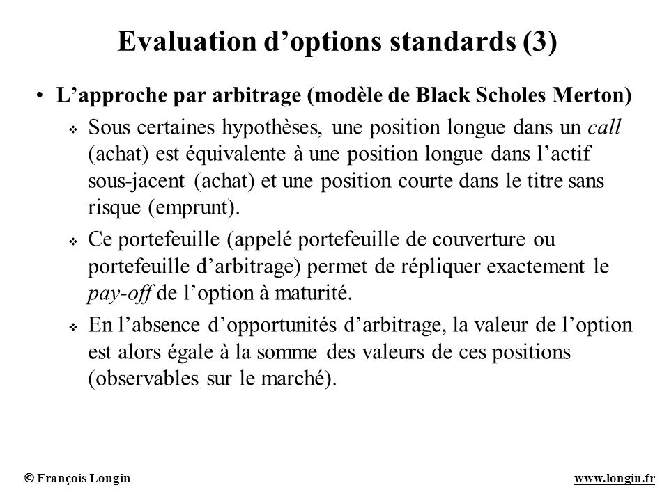 Evaluation d'options standards (3)