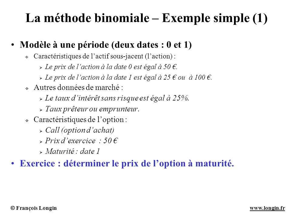 La méthode binomiale – Exemple simple (1)