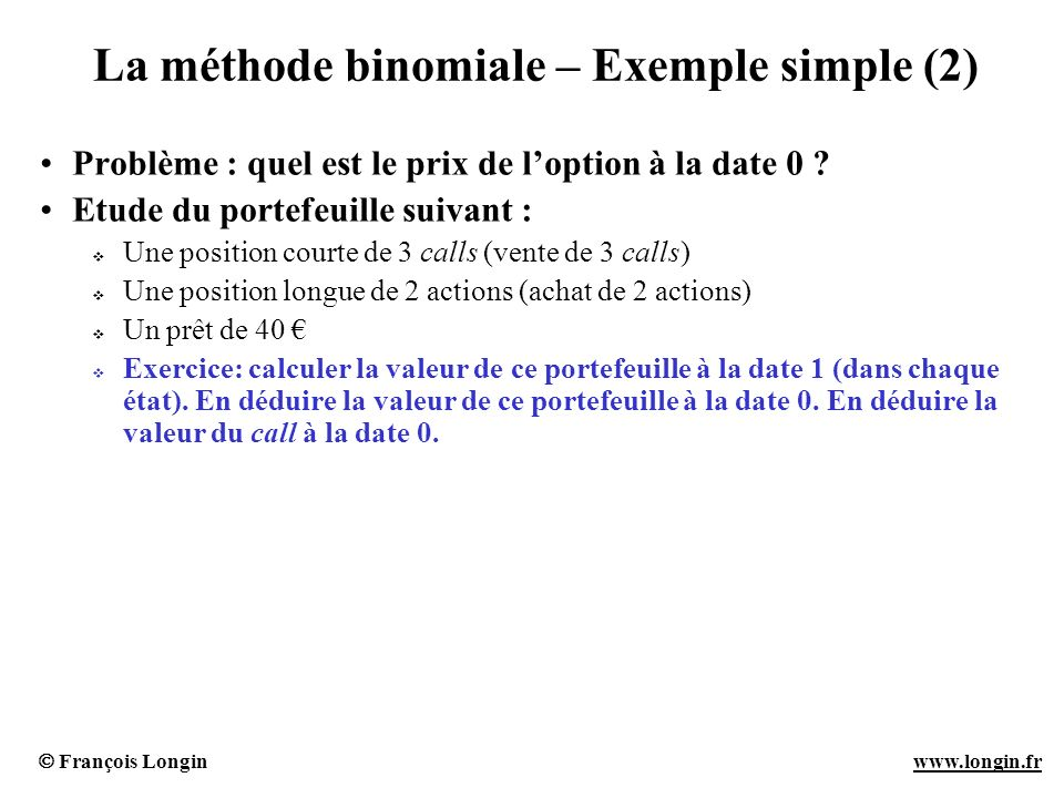La méthode binomiale – Exemple simple (2)