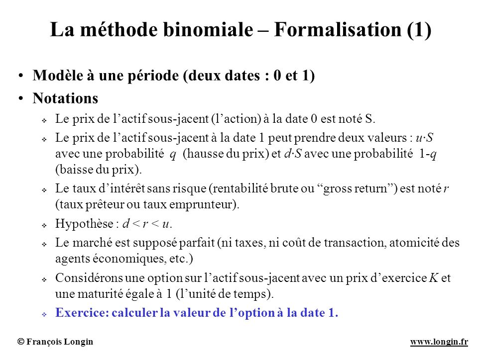 La méthode binomiale – Formalisation (1)