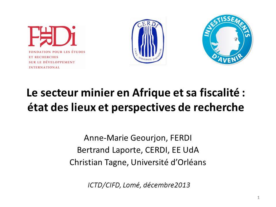 Le secteur minier en Afrique et sa fiscalité : état des lieux et perspectives de recherche